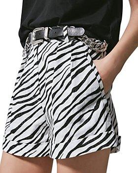 The Kooples - Glitter Zebra Linen Shorts