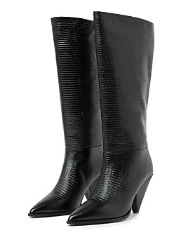 The Kooples - Women's Pointed Toe Lizard Embossed Boots