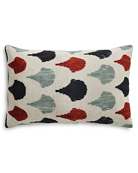 "Mitchell Gold Bob Williams - Ikat Scallop Silk Velvet Decorative Pillow, 22"" x 15"""