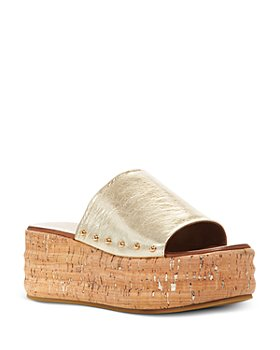 KURT GEIGER LONDON - Women's Monica Croc-Embossed Platform Slide Sandals