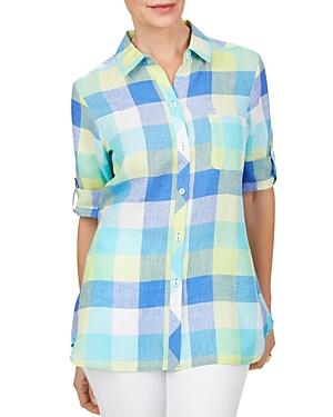 Foxcroft Tamara Check Print Easy Care Linen Shirt-Women