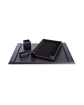 ROYCE New York - 4 Pc. Suede Lined Executive Desk Accessory Set