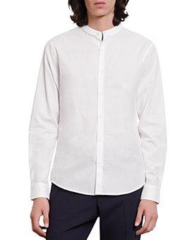 Sandro - Cotton Band Collar Slim Fit Button Down Shirt