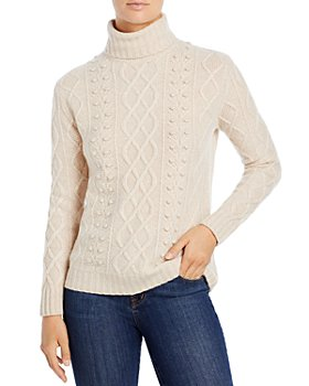 C by Bloomingdale's - Cable Cashmere Turtleneck Sweater - 100% Exclusive