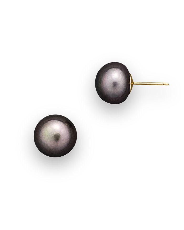 Bloomingdale's Cultured Freshwater Grey Pearl Stud Earrings, 10Mm In Gray