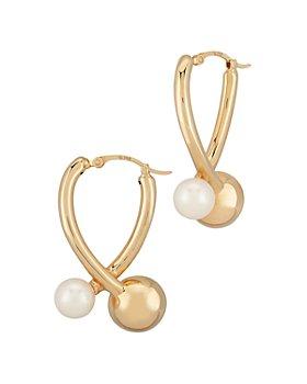 Bloomingdale's - Cultured Freshwater Pearl Wishbone Hoop Earrings in 14K Yellow Gold - 100% Exclusive