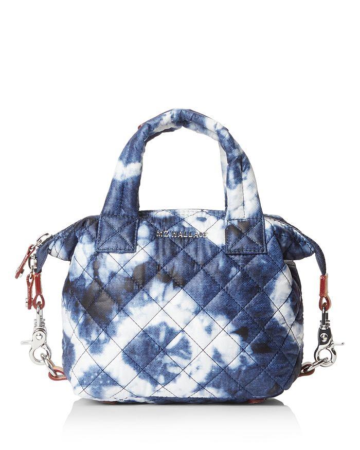 Mz Wallace Micro Sutton Bag In Indigo Tie Dye/silver
