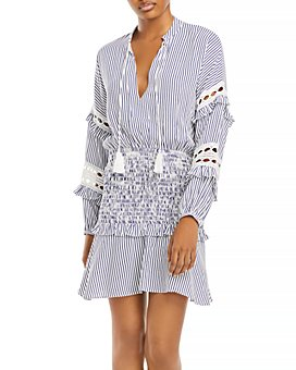 AQUA - Striped Eyelet Mini Dress - 100% Exclusive