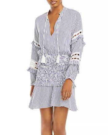 AQUA - Striped Eyelet Mini Dress - 100% Exclusive