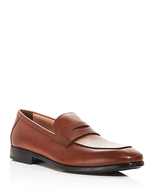 Salvatore Ferragamo MEN'S RECLY LEATHER SLIP ON PENNY LOAFERS - NARROW