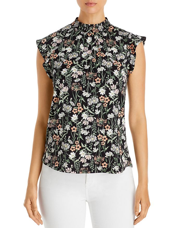 Alison Andrews Smocked Flutter Sleeve Top In Delicate Daisy