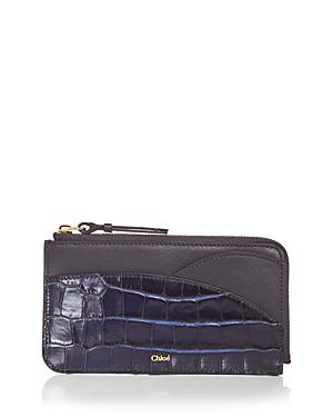 Chloe Croc Embossed Card Case-Handbags