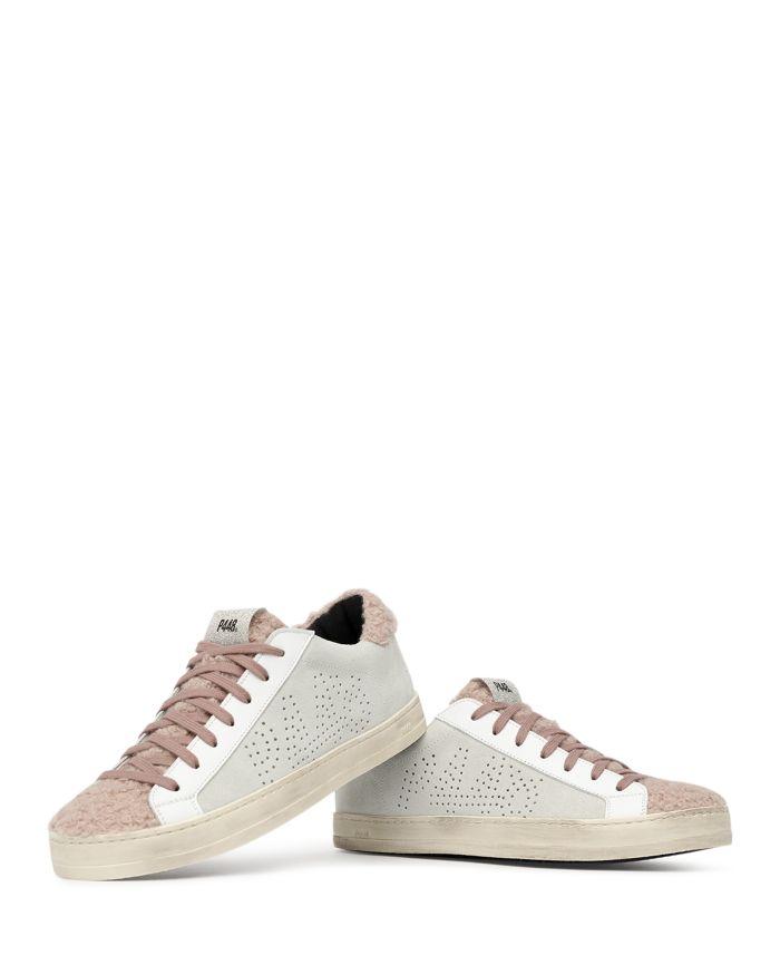 P448 Women's John Faux Fur Trim Platform Sneakers  | Bloomingdale's
