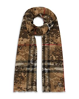 Burberry - Lightweight Camouflage Check Wool & Silk Scarf