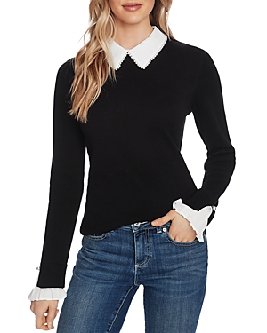 CeCe Embellished Collared Sweater-Women