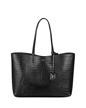 Jimmy Choo Nine2Five Large Croc Embossed Leather Tote-Handbags