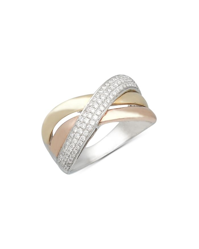 Bloomingdale's Diamond Crossover Ring in Tricolor 14K Gold, 0.35 ct. t.w. - 100% Exclusive  | Bloomingdale's