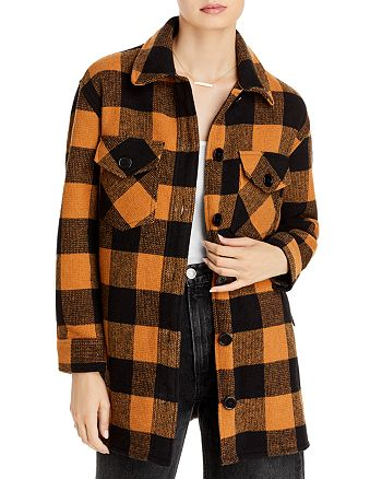 AQUA - Woven Plaid Coat - 100% Exclusive