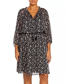 AQUA Curve - Plus Size Floral Print Dress - 100% Exclusive