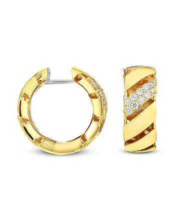 Roberto Coin - 18K Yellow Gold Diamond Torchon Hoop Earrings