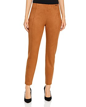 T Tahari - Faux Suede Pull On Cigarette Pants
