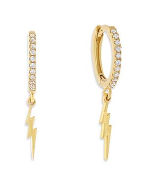 Adina's Jewels Cubic Zirconia Lightning Bolt Charm Huggie Hoop Earrings