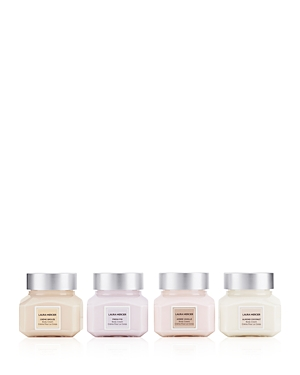 What It Is: A limited-edition set of four body creams in four aromas: Ambre Vanille, Almond Coconut, Fresh Fig and Creme Brulee. Set Includes: - Ambre Vanille Body Cream 2 oz. - Almond Coconut Body Cream 2 oz. - Fresh Fig Body Cream 2 oz. - Creme Brulee Body Cream 2 oz. What It Does: Just as milk nourishes your body, the key ingredients in Laura Mercier\\\'s souffle body creme instantly nourish your skin. This silky smooth creme, with its lightly whipped feel and unique scent, enriches the skin wit