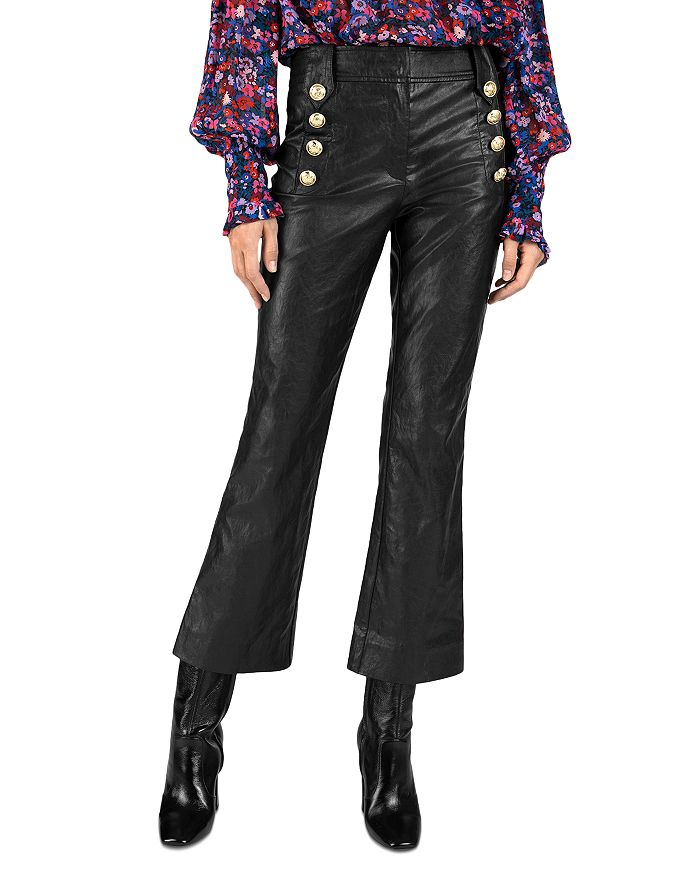 Derek Lam 10 Crosby - Corinna Faux Leather Cropped Flare Leg Pants