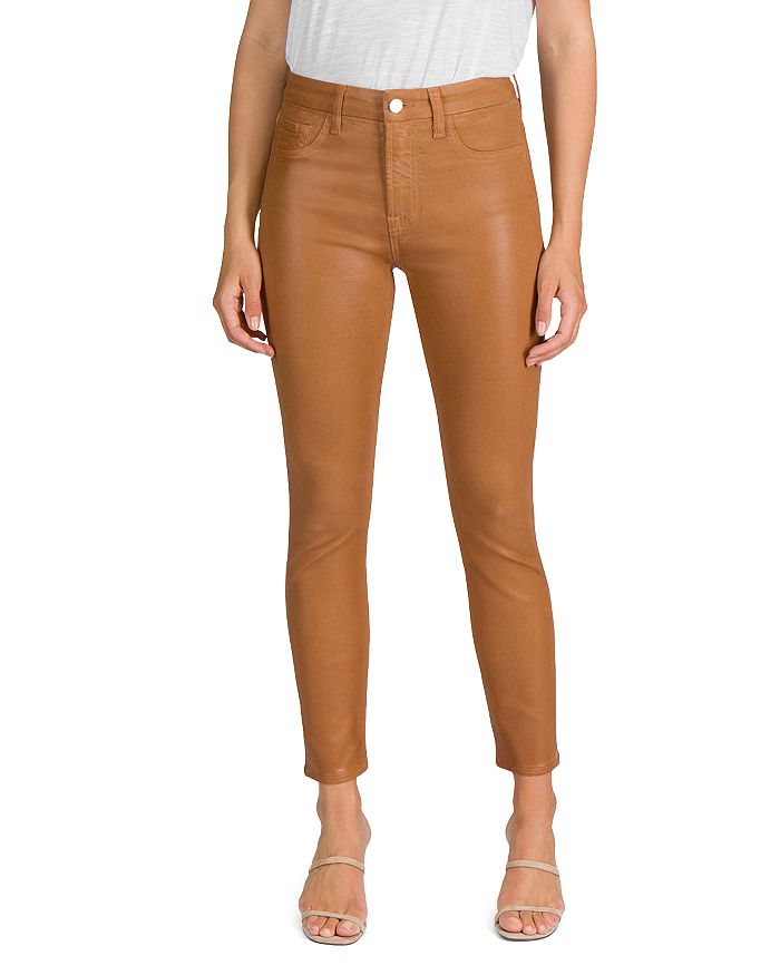 Jen 7 - Coated Skinny Ankle Jeans in Amber