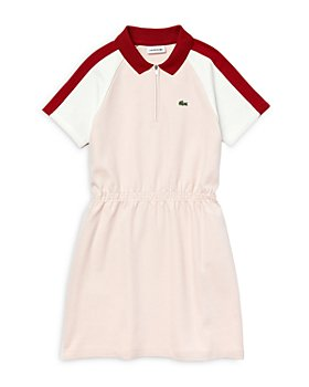 Lacoste - Girls' Cotton Color Blocked Zip Polo Dress - Little Kid, Big Kid