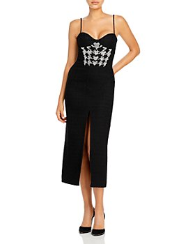 David Koma - Plexi & Crystals Houndstooth Embroidered Dress