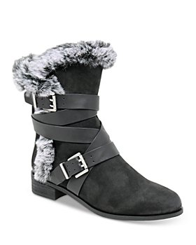 Charles David - Women's Schmidt Faux Fur Trim Tumbled Suede Booties