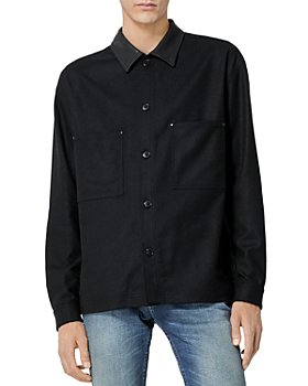 The Kooples - Wool Blend Leather Collar Shirt
