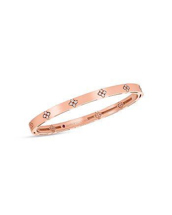 Roberto Coin - 18K Rose Gold Love in Verona Diamond Flower Bangle Bracelet
