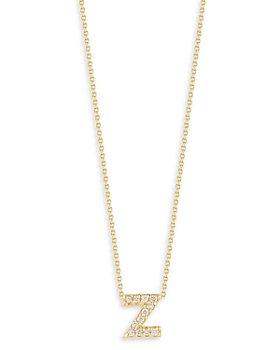 "Roberto Coin - 18K Yellow Gold Tiny Treasure Diamond Z Love Letter Pendant Necklace, 16-18"""
