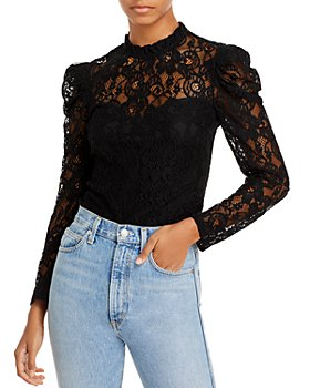 AQUA - Lace Puff Sleeve Top - 100% Exclusive