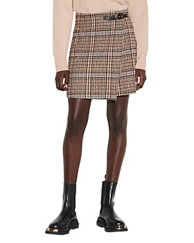 Sandro - Dalya Plaid Mini Skirt With Belt Buckle