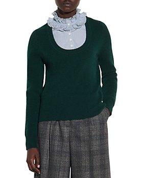 Sandro - Dume Sweater With Ruffled Shirt Bib
