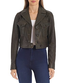 Avec Les Filles - Cropped Leather Jacket