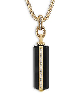 David Yurman - Lexington Barrel Pendant with Black Onyx, 18K Yellow Gold and Diamonds