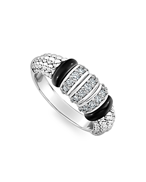 Lagos Sterling Silver Black Caviar Diamond & Black Ceramic Statement Ring