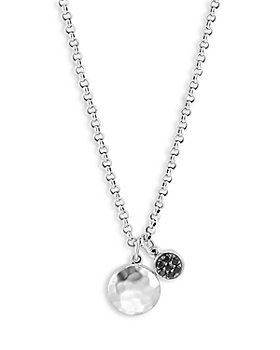 JOHN HARDY - Sterling Silver Dot Black Sapphire and Black Spinel Hammered Disc & Cluster Pendant Necklace, 16-18""