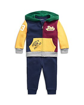 Ralph Lauren - Boys' Color Blocked Fleece Hoodie & Fleece Jogger Pants Set - Baby