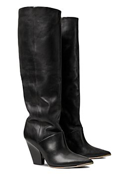 Tory Burch - Women's Lila Pointed Toe High Heel Tall Leather Boots