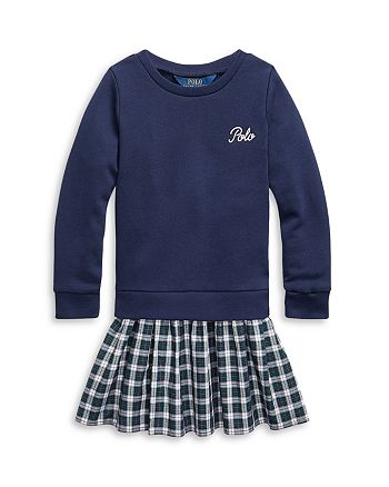Ralph Lauren - Girls' Plaid Skirt Sweatshirt Dress - Little Kid, Big Kid