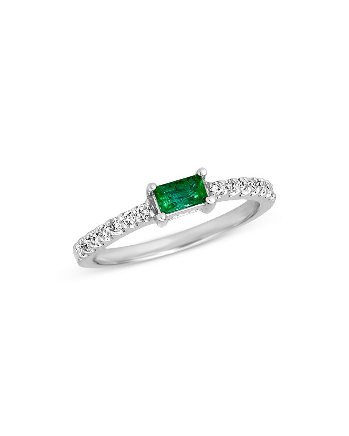 Bloomingdale's - Emerald and Diamond Stack Ring in 14K White Gold - 100% Exclusive