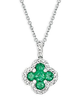 "Bloomingdale's - Emerald and Diamond Clover Pendant Necklace in 14K White Gold, 16"" - 100% Exclusive"