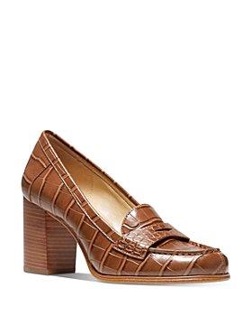 MICHAEL Michael Kors - Women's Buchanan High Heel Embossed Leather Loafers