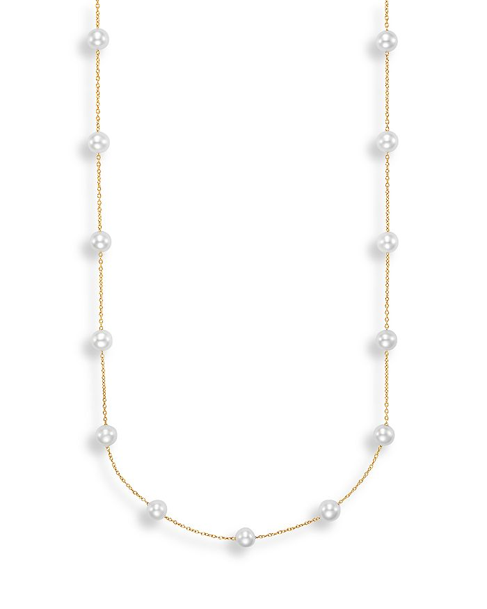 """Bloomingdale's - Cultured Freshwater Pearl Station Necklace in 14K Yellow Gold, 17"""" - 100% Exclusive"""