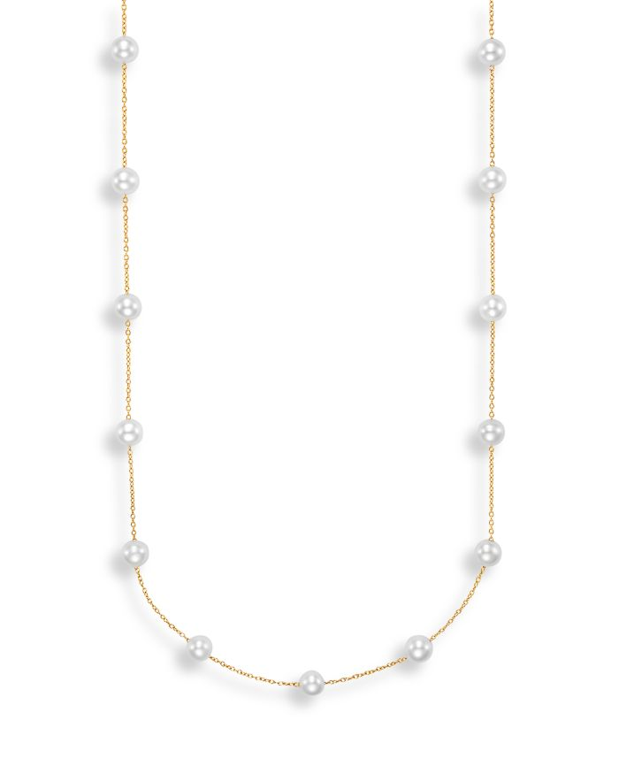 """Bloomingdale's Cultured Freshwater Pearl Station Necklace in 14K Yellow Gold, 17"""" - 100% Exclusive  
